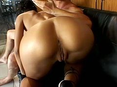Superb brunette girl plays with her hot pussy and gives hot blowjob. Later on this babe gets fucked in her pussy and ass.