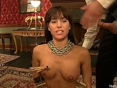 She is having a first time experience being shared by Cherry Torn and this cruel dude. He puts chain on her neck and twitches her nipples, while Cherry pleases her muff!