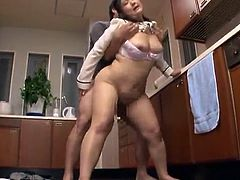Large Thai housewife has invaded in A Kitchen