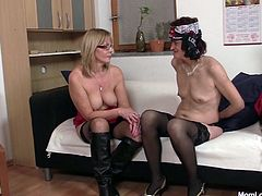 What's better than a slutty mom? Two, of course! And these two are as slutty, as it gets! One brunette and the other one blonde, these saggy old whores are gonna share their lust and two big dildo for us! They suck their sex toys and then, begin to masturbate. Find out if they are gonna fuck each other!