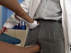 Lustful blonde babe gets her pussy eaten by her doctor