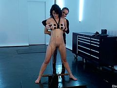 See the hot toying and the kinky electrical torture Aiden Starr is giving Raven Rockette in this femdom video!