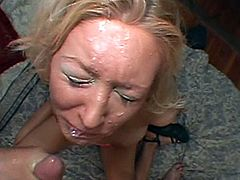 A slutty blonde milf shows her snatch to some guy and lets him eat it. Then they fuck in missionary, cowgirl and other positions and the dude uses the woman's face as a cum target.