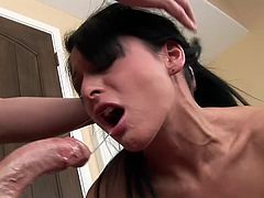Busty brunette Alison Star feels nasty with a tasty dick stroking deep in her mouth