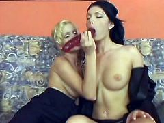 Roxy Panther and Miu Lee have an unforgettable lesbian sex in a living room. They kiss lying on a sofa and then start to drill their smooth pussies with gigantic double headed dildo.