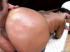James Deen gets turned on by Nikita Denise with gigantic melons and then drills her back swing