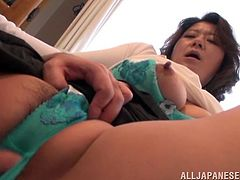 Lewd Japanese mom shows her big natural boobs to some nerd and lets him play with them. Then she gets her meaty snatch fingered and enjoys doggy style banging.