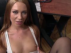 Beautiful, so sex appeal and so sinful blonde chick Lindsey Olsen has relaxation with man. She stays in stockings before starting to play with his massive dong by feet.