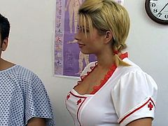 Rebecca Steele and Brooke Haven are two super horny nurses, who love to share everything, including their patients. Watch them stroking his cock for a huge cumshot.