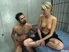 Audrey Leigh the superb blonde girl with long legs undresses Ricosf and then toys his ass with a strap-on.