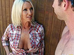 Horny MILF prepares tasty lemonade to handsome worker. She seduces him for sex outdoor. Young stud suckles perky nipples of blonde mommy and then he thrusts his juicy cock in her mouth so she sucks him deepthroat.