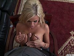 Naughty blonde with jaw dropping big jugs gives tits job and later gets her tight and promising ass hole licked by one raunchy guy.