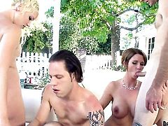 Shameless hussy Nora Skyy gets impaled on rod by Wolf Hudson in anal action before cock sucking