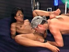 Salacious Asian chick Lyla Lei pleases her man with a blowjob and allows him to eat her cunt. Then they bang in missionary and cowgirl position and seem to be unable to stop.