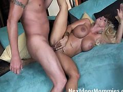 See this busty and horny blonde milf enjoying an intense fuck in this awesome free porn video. After blowing her man's cock her cunt is ready to be destroyed!