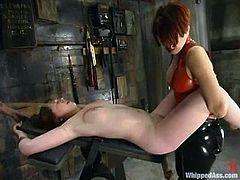 Chubby girl Ginger is playing dirty games with Audrey Leigh and Sonya in a basement. She lets the mistresses tie her up and gets beaten and fucked with toys.