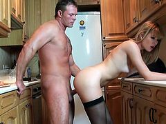 Kitchen has become a very popular place to have sex at! This divine wife in stockings is going to suck and bend over for a doggy style.