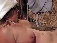 Dark haired playful Breanne Benson with huge juicy knockers is horny village girl. She seduces her gorgeous curvy brunette crash and has amazing pussy polishing action in the barn.