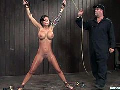 Hot Mason Moore gets tied up and whipped painfully. Later on she gets her hot and wet pussy toyed with a vibrator.