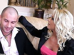Blonde Sarah Simon with giant tits has some time to play with her wet spot