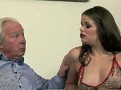 Sexy chick in pantyhose gives deepthroat blowjob to the old man. Then she gets her pussy fucked hard by him. Later on she gets ass fucked by some younger dude.
