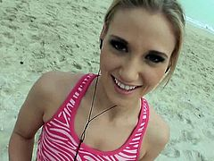 Pretty blonde babe jogs on the beach. Then she comes home and have an amazing sex. She sucks big dick and then gets rammed in her shaved pussy.