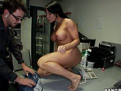 Watch this hot and sexy chick Nikki with her big and nice titties getting fucked in her wet pussy by her colleaugue in Bang Bros Network sex clips.