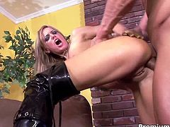 Holly Wellin brutally ass fucked with huge dick! She is his little anal slave and he can do whatever he wants with her tight ass!