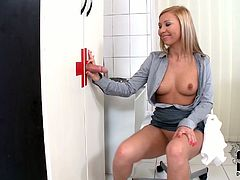 Sexy light haired nurse Jessy Brown invites her patient to the small room and asks him to pull his big dick out of that hole. Then Jessy gets wild giving amazing blowjob.