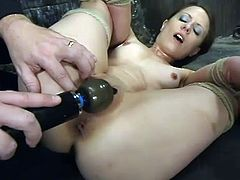 Slutty brunette Lena Ramon is playing BDSM games with some stud in a basement. Lena gets tied up and humiliated and then gets her pussy drilled to orgasm with a dildo.