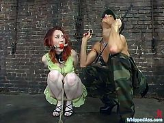 Military BDSM story with two sex dolls Kendra James, the hostage, and Kym Wylde, interrogation officer! She is going to give her so much pain for the information!