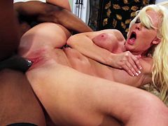 This video has a hot and horny MILF who gets herself a big black dick in this interracial action. She loves being filled with big cock and is getting it here.