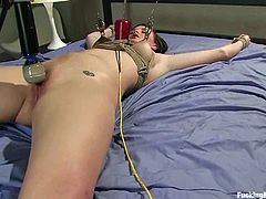 That is what this amazing chick Brooke Lee Adams is going through. Honey gets naked and starts stunning so loud, as the machine goes rough in her muff.