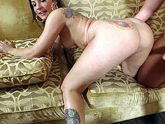 Black haired young hooker Tori Lux with colorful tattoos and round bouncing ass gives head to randy client Rocco Reed and gets pounded to loud orgasm in doggy style position.