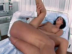 Black haired stunning nurse Black Angelica with big firm tits and pretty face gives head to randy patient and gets her pink twat and juicy ass banged hard to loud orgasms.