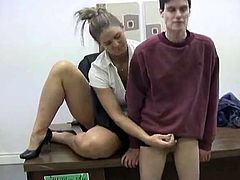 Mistress gives handjob