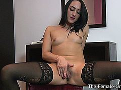 Chloe Lovette has the most amazing, large labia. Watch the flap around as she masturbates her hard clit until she cums.  She has nice and perky nipples on small natural breasts too.