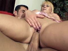 Big-breasted blonde Carly Parker gives a deepthroat blowjob and a great titjob to some guy. Then they fuck in missionary and cowgirl positions and moan loudly with pleasure.