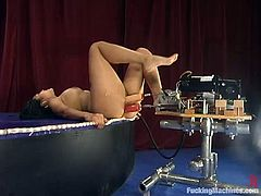 Naughty Mika Tan lies down near the pole and spreads her legs. After that she starts to toy her vagina with a dildo. In addition she gets her pussy drilled by the fucking machine.
