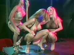 These three pole dancers are going to get horny for each other as the strip club is empty and focus in giving each other pleasure with their feet.