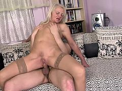 Mature blonde Anett fuck in missionary pose