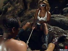 Some hot outdoor BDSM action with a charming and exotic blond mistress taking over this poor dude Rok! Isis Love is so fucking cruel and so damn sexy!