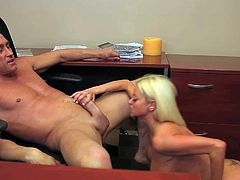 Adorable long haired blonde secretary Nikita Von James with huge firm stunning hooters and round bouncing ass gives head to boss Billy Glide and rides on his cock like crazy.