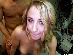 Cadgy blonde gets her pussy fucked by one raunchy stud in doggy style position. Later she put her on back and drills her pussy in missionary style.