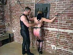 Tied up blonde girl in fishnets gets her tits pinched with claws. Later on the master fixes clothespins to her pussy lips, nose and mouth.
