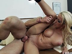 Provocative office fuck scene starring blonde bombshell Breanne Benson. Porn star bends over the copy machine getting hammered hard doggy style.