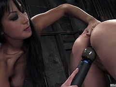 Gorgeous Gianna spanks Delilah's ass. After that Delilah licks her mistress' pussy and gets tied up. Then she gets toyed with a vibrator.