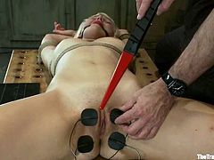 Kinky blonde girl gets tied up. Then she gets her pussy lips, tongue and nipples clothespinned. After that she also gets toyed and fingered.