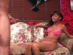 Watch this extremely hot jamaican babe in her pink tight underwear getting unfressed in her dining room in Fame Digital sex clips.