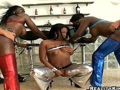 Lewd ebony chick Mecca Licxxx and her salacious GFs show their cock-sucking skills to two men. Then they lean forward and allow the dudes to smash their holes from behind.